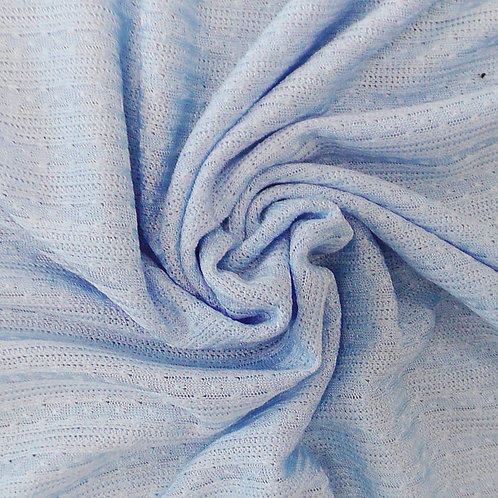 Sheer Crochet Look Knit Fabric  Light Blue