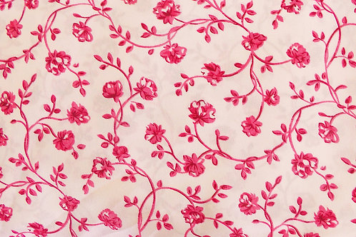 Pink Floral Kashibo Print 100 Percent Polyester Dress, Skirt or Blouse Fabric