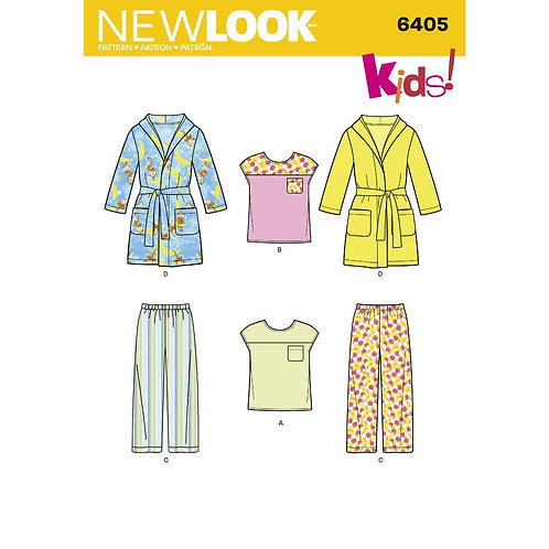 New Look Sewing Pattern 6405 Kids Pajama Pants, Top and Robe Pattern