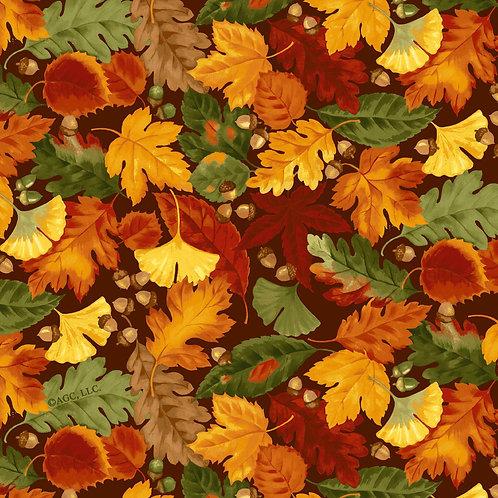 Fall Autumn Leaves Print 100 Percent Cotton Fabric