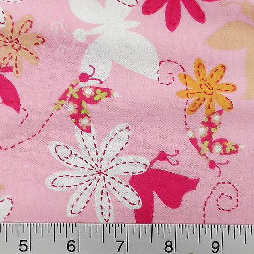 Pink Butterfly Floral Print T-shirt Knit Fabric