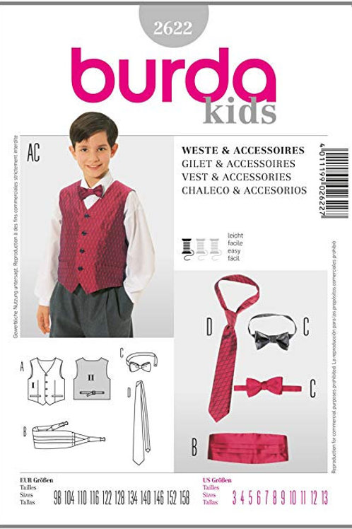 Burda Style Sewing Pattern 2622 Boys Vest, Bowtie, Tie, and Cumberbund