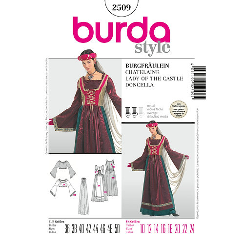 Burda Style Sewing Pattern 2509 Lady of The Castle Costume Cosplay Pattern