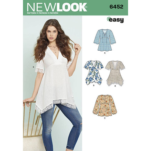 New Look Sewing Pattern 6452 Misses' Tops Pattern in 3 Styles