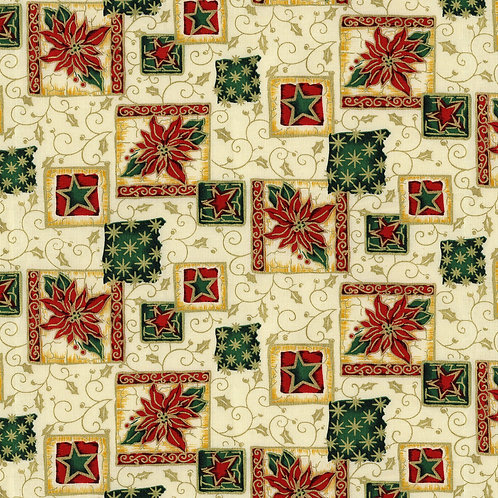 Christmas Holly and Poinsettia Print 100 Percent Cotton Fabric