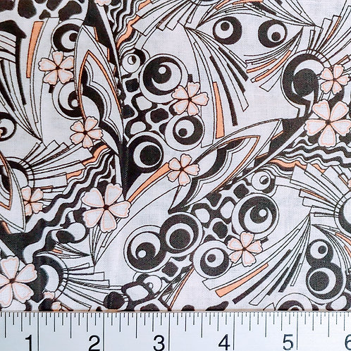 Quilting Sewing Cotton Fabric Black and Coral on White Geo Print