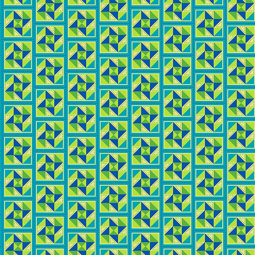 Lime Green and Blue Geometric Print 100 Percent Cotton Fabric