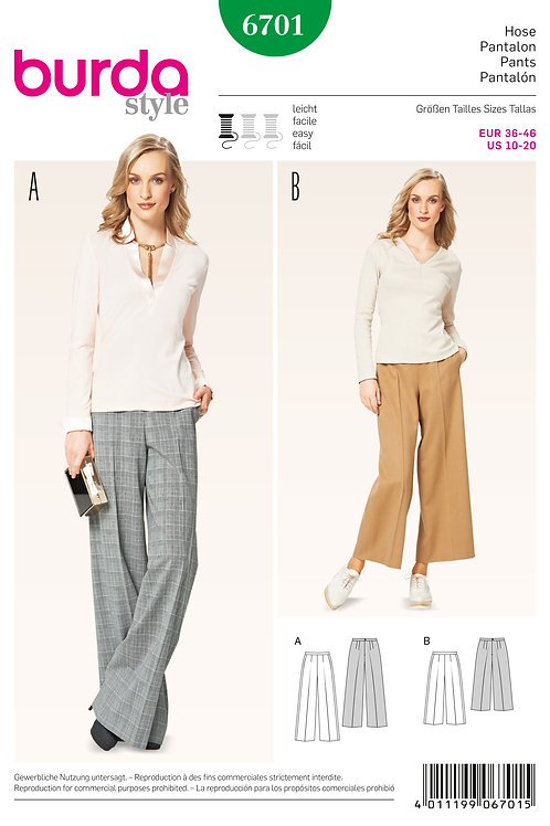 Burda Style Sewing Pattern 6701 Misses' Pants