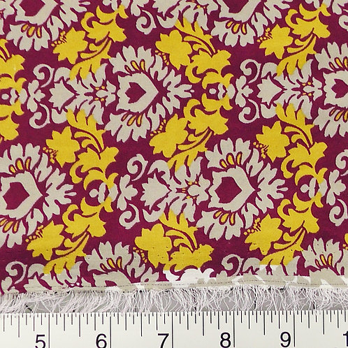 Wine and Gold Damask Print Fabric