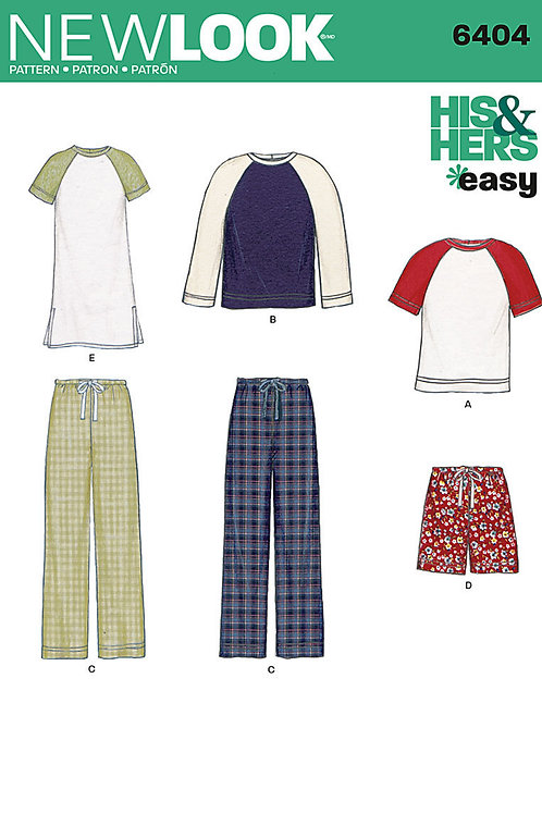New Look Sewing Pattern 6404 His and Hers EASY Knit Tops and Pants