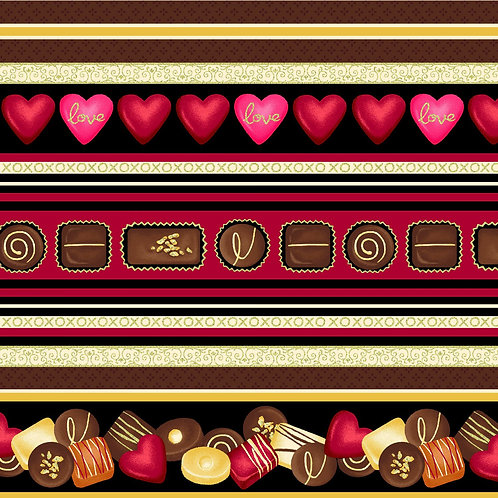 Forever Yours Delectable Chocolate Print Fabric 100 Percent Quilting Cotton