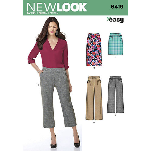 New Look Pattern 6419 EASY Skirts and Pants Pattern