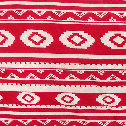 Ruby Red Tribal Print Polyester Fabric