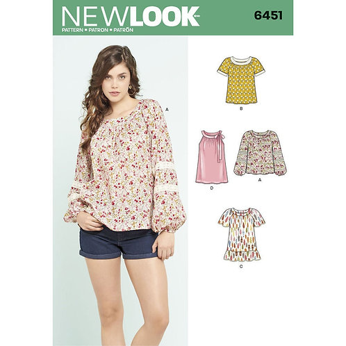 New Look Sewing Pattern 6451 Misses' Tops Pattern in 4 Styles