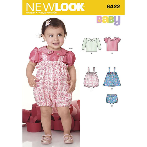 New Look Baby Romper, Blouse, Jumper and Panty Pattern 6422