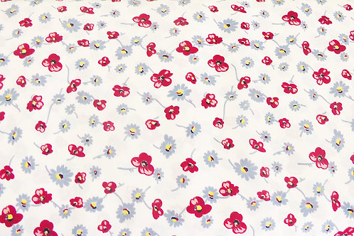 Wedgewood Blue and Red Floral Print Fabric