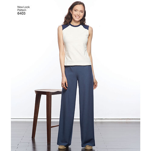 New Look Sewing Pattern 6403 Knit Tops and Pants