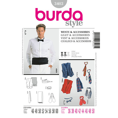 Burda Style Sewing Pattern 3403 Mess Vest, Bowtie, Tie, and Scarf
