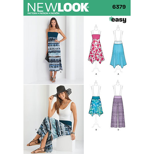 New Look Pattern 6379 Misses' Pants, Skirt, and Convertible Maxi-Skirt