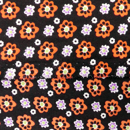 Black Floral Print Orange, lime and Orchid