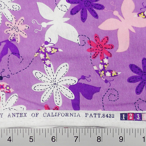 Purple Butterfly Floral Print T-shirt Knit Fabric