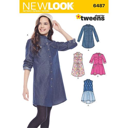 New Look Pattern 6487 Girls' Shirt Dresses and Tie Belt