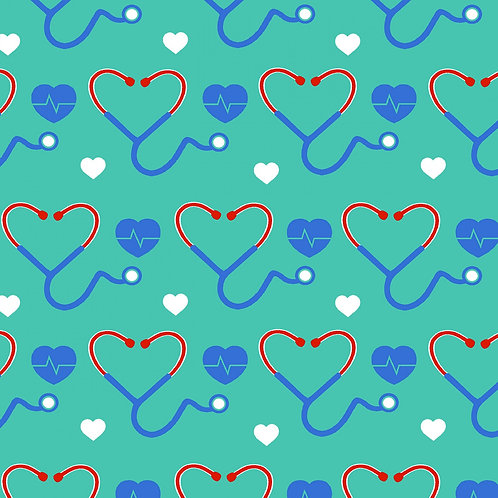 First Responders Stethoscope Hearts Print Fabric