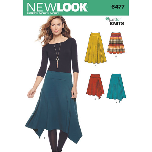 New Look Pattern 6477 Just For Knits Skirts in 4 Styles