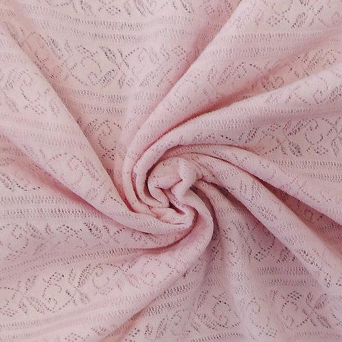 Sheer Crochet Look Knit Fabric  Light Pink