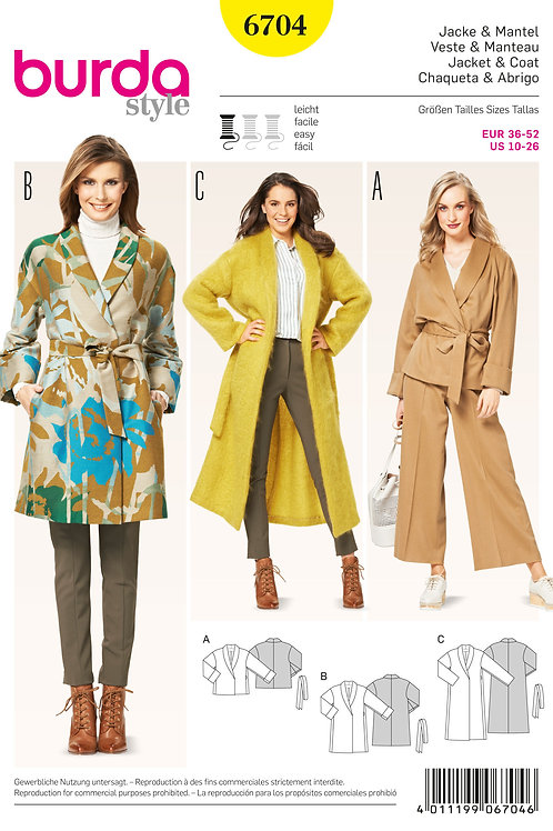 Burda Style Sewing Pattern 6704 Misses' Jacket and Coat