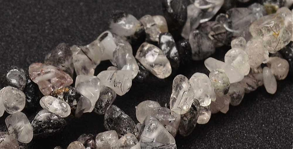 CLEARANCE - Natural Chip Gray Rutilated Quartz - Small Chips