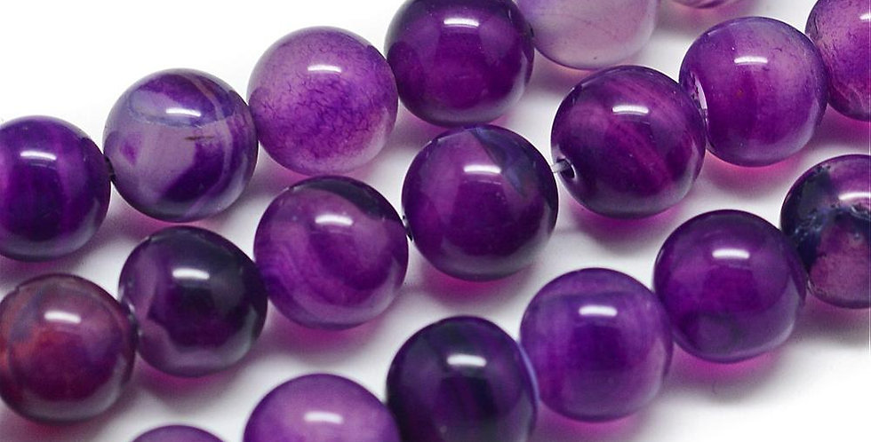 10 mm Natural Striped/Banded Agate - Dyed, Purple