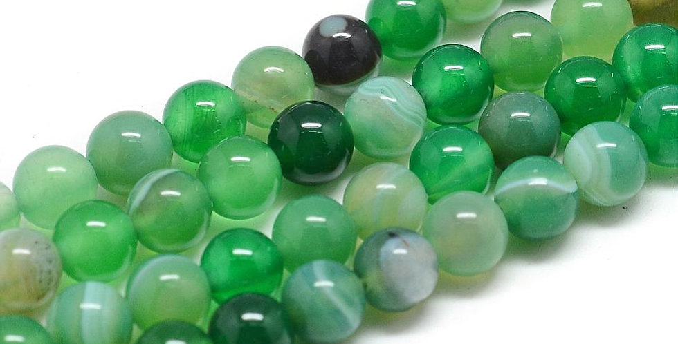 10 mm Natural Striped/Banded Agate - Dyed, Light Green