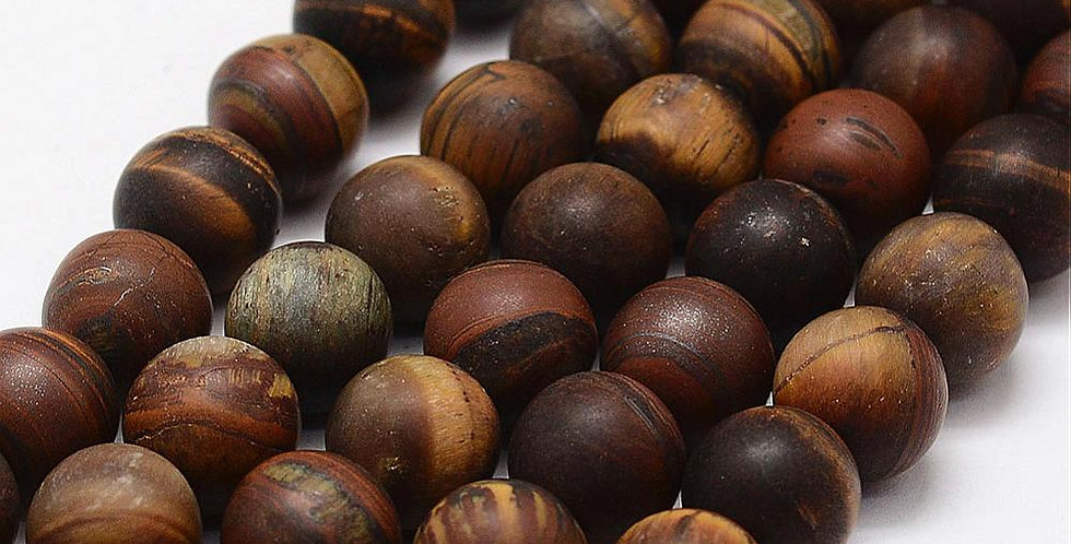 10 mm Natural Frosted Tiger Eye