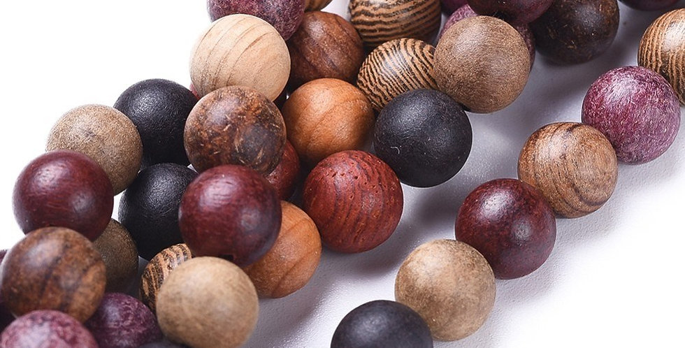 6 mm Natural Wood Beads, Colorful