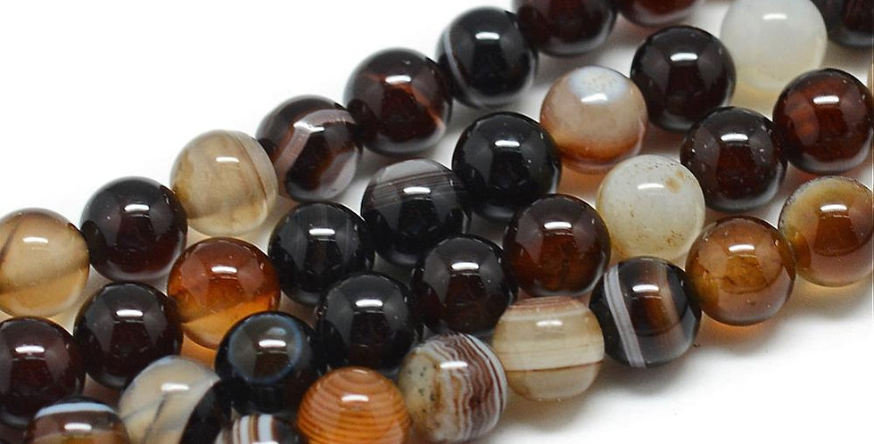 10 mm Natural Striped/Banded Agate - Dyed, Coconut Brown