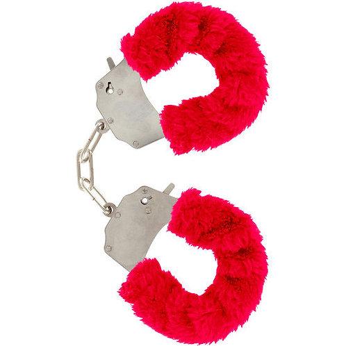 RED FURRY FUN CUFFS - ALGEMAS