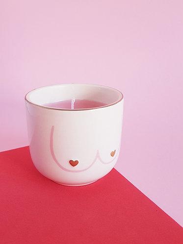 vela cor-de-rosa com maminhas vela feminista vanilla vice