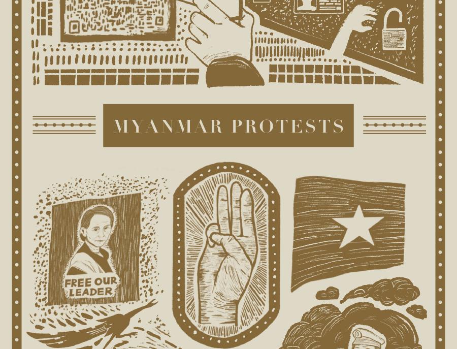 2月藏書票:強制安心出行 x 緬甸政變抗爭