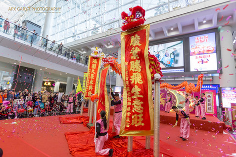 Lion dance with Bless Wording