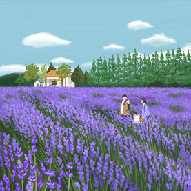 A family in the lavender field