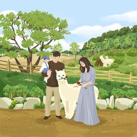 A family at Alpaca World