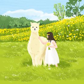 An alpaca and a girl