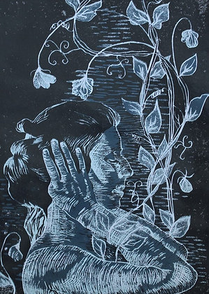 'Look within' Reduction Lino Print - Slate Blue Edition
