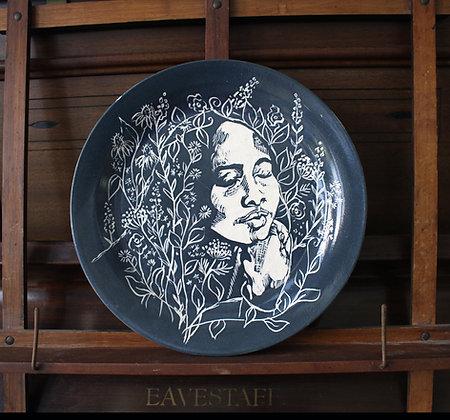 Deep Blue Floral Portrait Plate