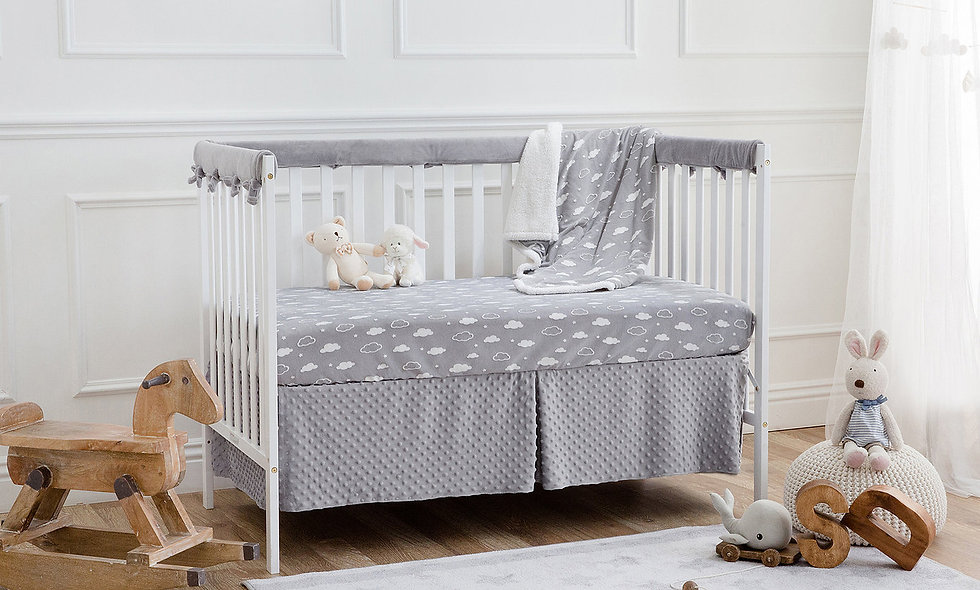 5 Piece 3D Cloud Heavenly Soft Crib Bedding Set