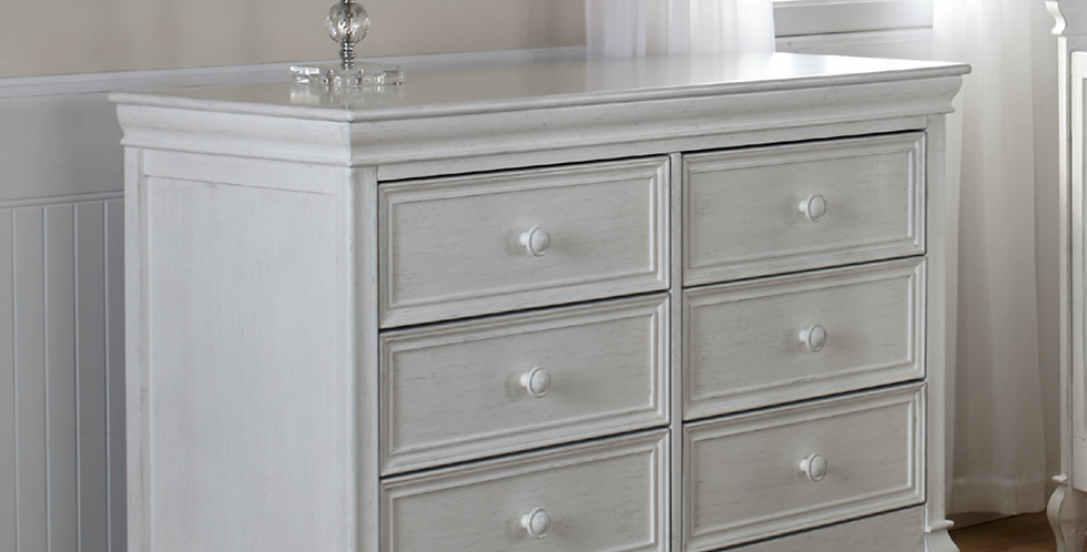 Pali Diamante Collection Double Dresser in Vintage White