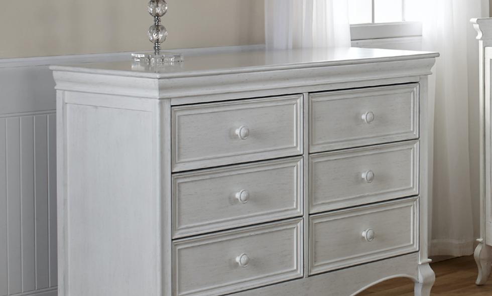 Pali Diamante Collection Double Dresser in Vintage White