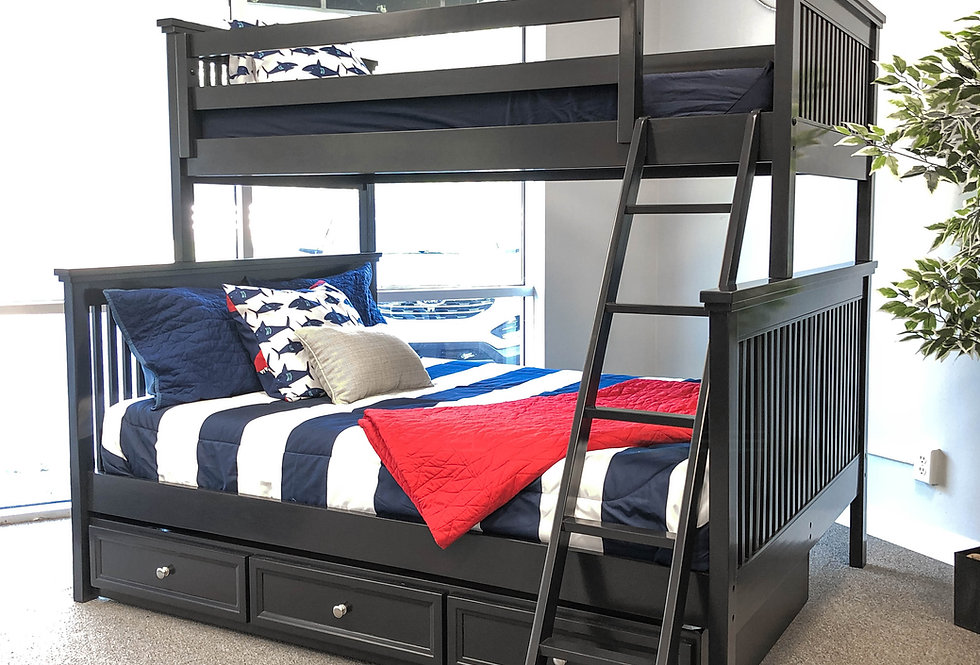 Pre-Owned Mission Style Twin/Full Bunk Bed with Trundle