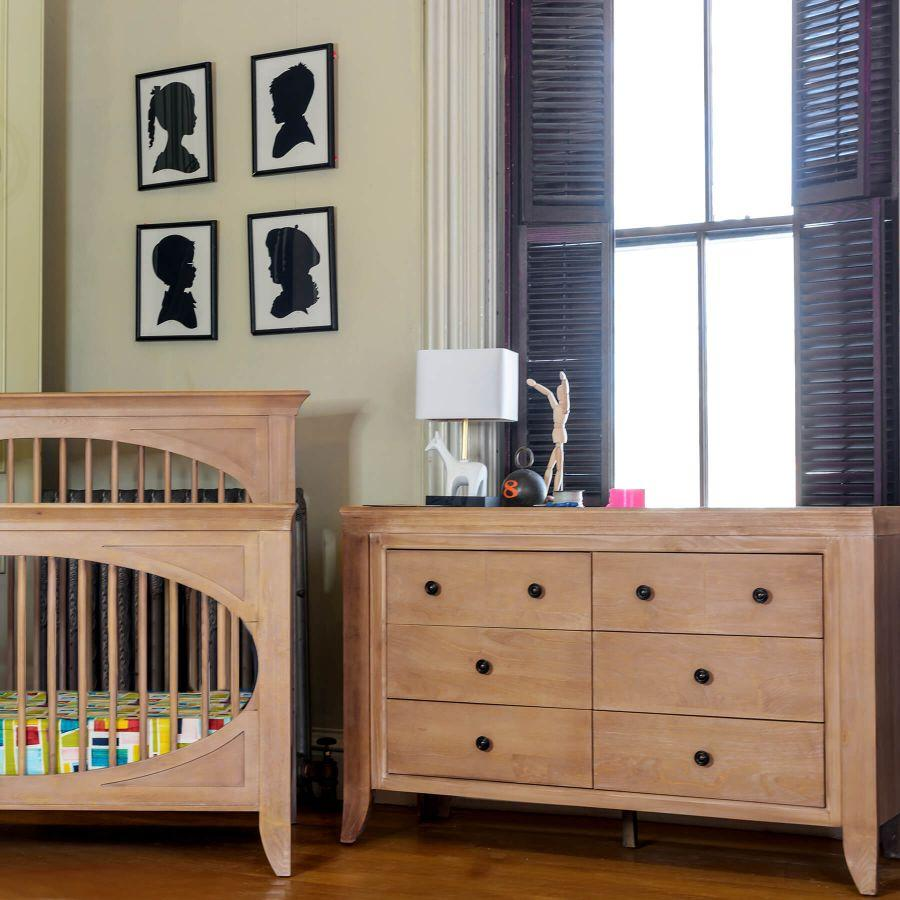 Cameo Sleigh Convertible Crib Shown in Toast